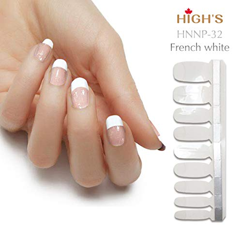 HIGH'S Glitter Series French Nail Wraps Decals Art Transfer Sticker Manicure DIY Full Nail Polish Patch Strips for Wedding, Party, Shopping, Travelling, 18pcs (French White)