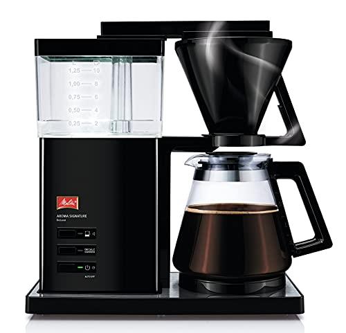 Melitta AromaSignature DeLuxe 100703, przelewowy ekspres do kawy ze szklanym dzbankiem, proces parzenia na gorąco, czarny/stal nierdzewna, filtrowany ekspres do kawy, 1,2 litra