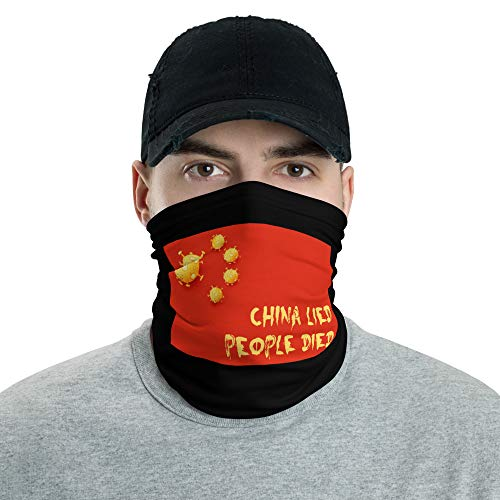 China Lied People Died, coronavirus masks, covid masks, covid gaiters, face coverings, neck gaiter, funny covid masks