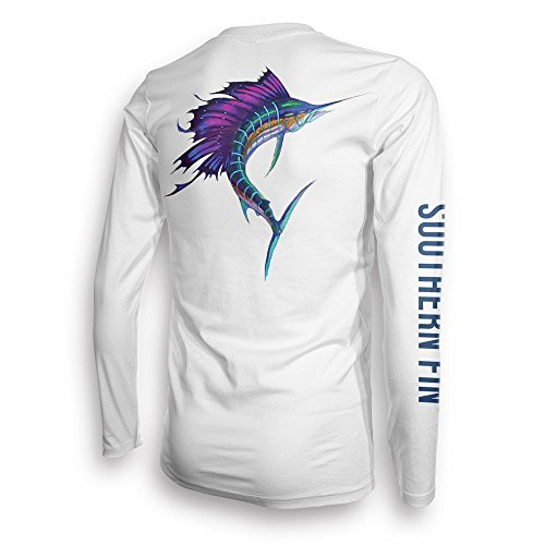 Southern Fin Apparel Angelbekleidung Fishing Shirt Herren Damen Fischerhemd UPF UV Langarm Hemd - (X-Large, Sailfish)