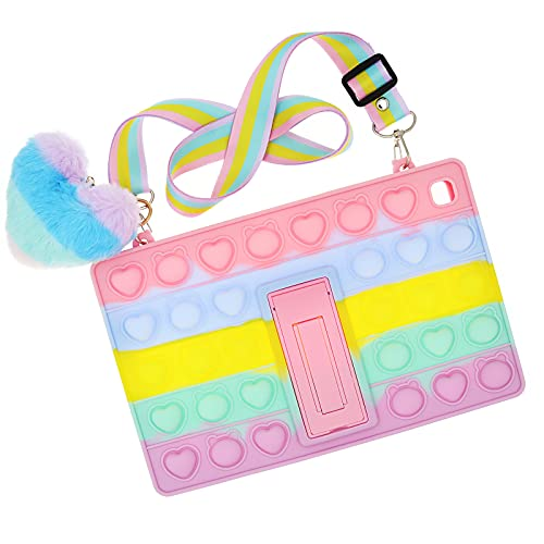 Pop Rainbow Bubble Silicone Cute Case Compatible with Samsung Tab A 8.0 2019 T290/T295/T297, Shockproof Anti-Stress Case with Lanyard&Kickstand&Pendent