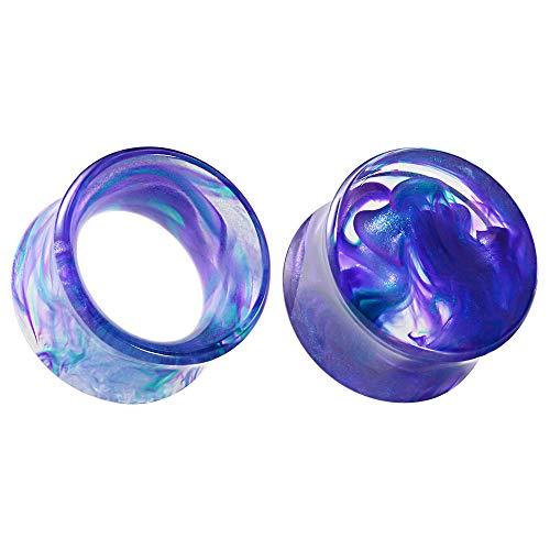 COOEAR Juego de 2 pares de medidores para orejas, túneles de carne, dilatadores de oreja, dilatadores de oreja de acrílico azul, dilatador de oreja.
