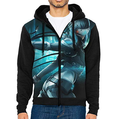 Ghost in The Shell Anime Funny Design Men Zip-Front Hoodie Jacket