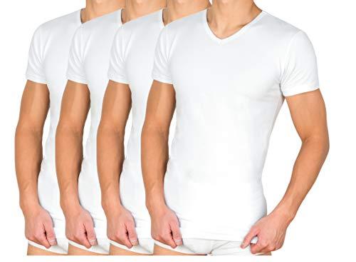 2er | 4er Pack Herren Unterhemd T-Shirt mit V-Ausschnitt Stretch 95/5 - Baumwolle/Elasthan in Weiß, Grau, Schwarz S-XXL (M, Weiß)