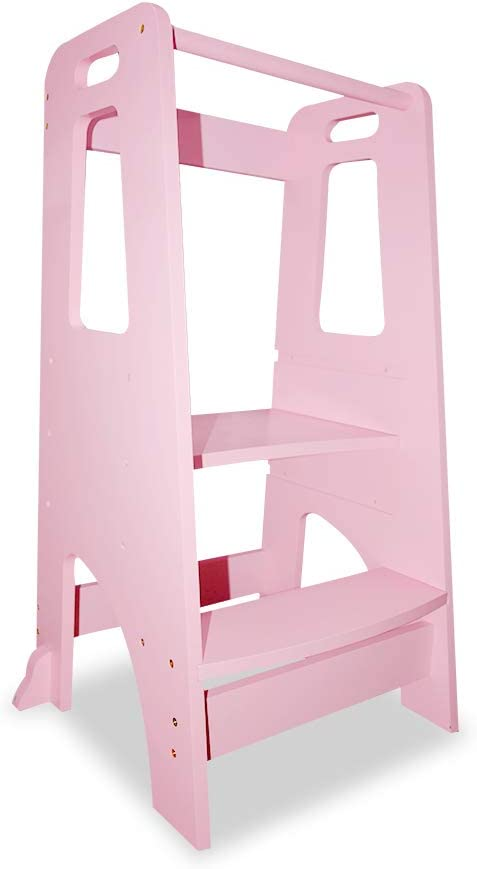 ZZBIQS Kids Kitchen Helper Step Stool Black Wooden Toddlers Learning Helper Tower with Safety handRail for Kitchen Counter Height Adjustable Standing Platform Children Standing Tower