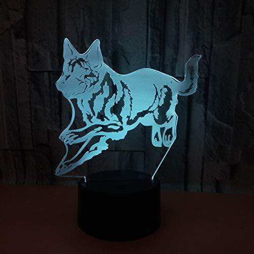 Jiushixw 3D-acryl-nachtlampje met afstandsbediening van kleur veranderende bureaulamp schedel koplamp kleursfeerverlichting kinderkamerverlichting smalle lampstatiefbediening
