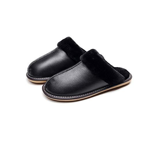 XVXFZEG Hogar de algodón, Felpa de los Deslizadores de Revestimiento, Antideslizante Suela de Goma, Zapatos adecuados for Interior y Exterior, de Cuero Negro Zapatos de algodón extendidas, Resistente
