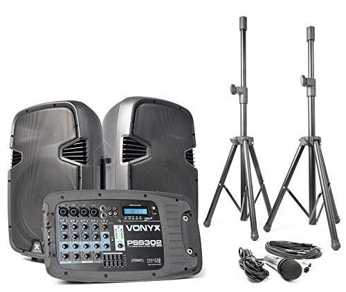 Vonyx PSS302 Equipos de sonido móvil 300W max. BT USB SD 1 micrófono bolsa transporte y trípodes