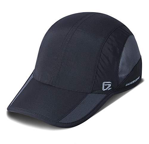 GADIEMKENSD Running hat Quick Dry Sport Cap Lightweight Breathable Unstructured Soft Baseball Cap for Men and Womens Dark Black