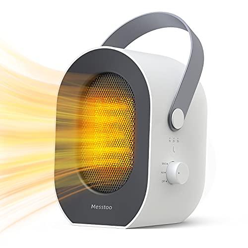 Calefactor Bajo Consumo, Mini Portátil Eléctrico Calefactor de Aire Caliente, 3 Segundos Calentamiento Rápido, 1/2/3/6 Horas Tiempo Preestablecido, Apagado Automático, Calefactor Ceramico