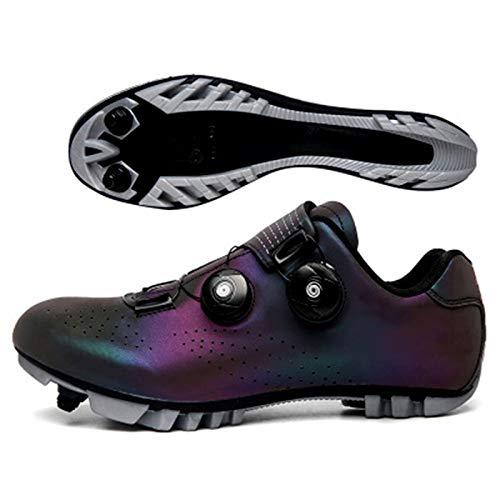 RHSML Zapato de Bicicleta de Carretera con Bloqueo automático, Zapatillas MTB Transpirables, Bicicleta de Carretera de Ciclismo de montaña, 41