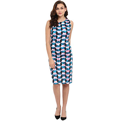 ATHAH Cotton Blend Geometric Patterned Multicoloured Sheath Dress for Women