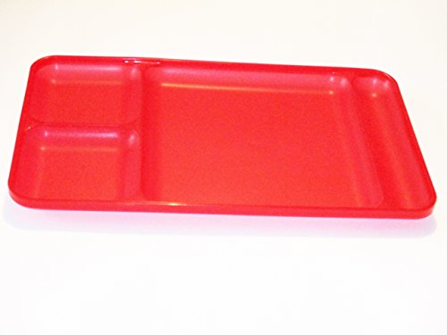 "Tupperware 15"" x 9"" Red Divided Lunch Tray"