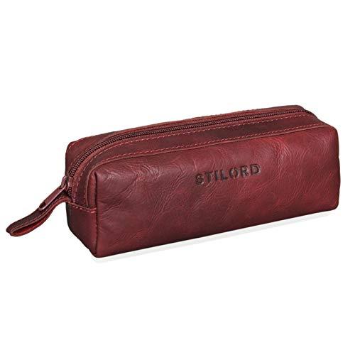 STILORD 'Linus' Estuche Escolar para lápices de Piel Bolsa o portatodo para Maquillaje Colegio o Viaje Cartuchera Cuadrada de Genuino Cuero Vintage, Color:Rosso
