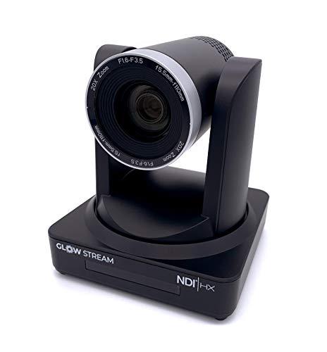 Glow Stream HD NDI Camera - PTZ PoE 3G-SDI HDMI NDI HX RTMP/RTSP ONVIF VISCA Pelco 1080p60 Remote Control Broadcast Quality - Supports vMix, OBS, Facebook Live, YouTube Live (20x Zoom)