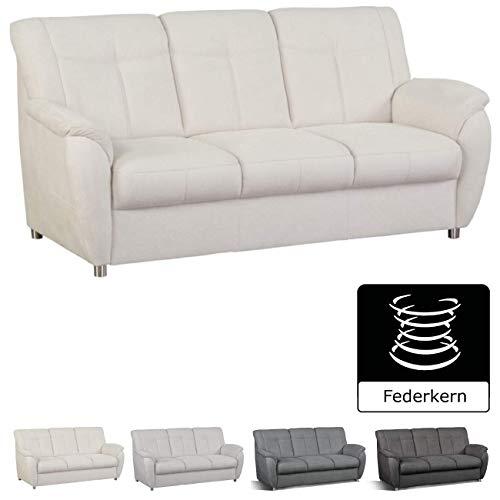 Cavadore 3- Sitzer Sunuma mit Federkern / Moderne 3 sitzige Sofagarnitur / Größe: 189 x 91 x 90 cm (BxHxT) / Farbe: Creme (beige)