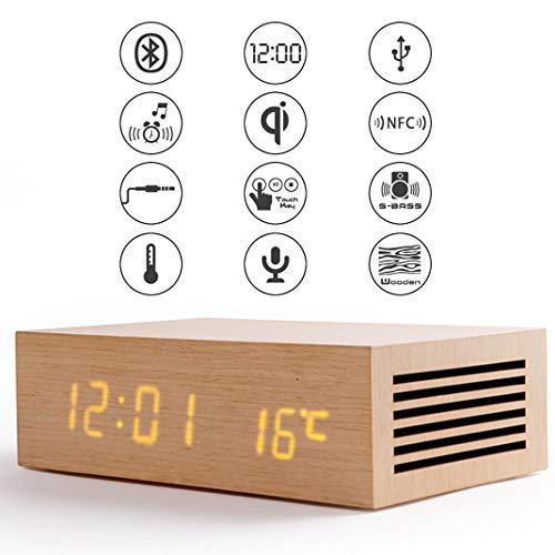 Drahtloses Laden Bluetooth Lautsprecher Wecker, Touch-Steuerung Holz LED Digital Freisprechen Temperaturanzeige Intelligente Handy Kabellos Aufladen Tischuhr,Wood