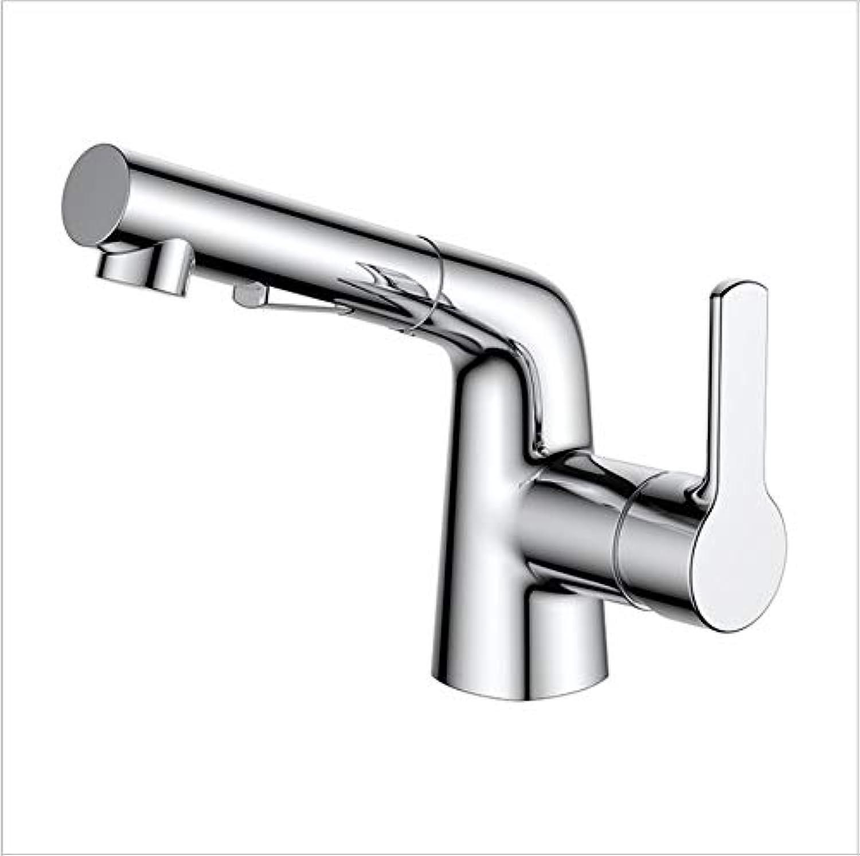 Floungey BadinsGrößetionen Waschtischarmaturen Küchenarmaturen Pull Waschtischmischer Wasserhahn Kupfer Chrom Waschbecken Warm- Und Kaltwassermischer Duschkopf