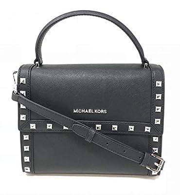Michael Kors Women's Dillon Studded Medium Messenger Leather Crossbody Bag (Black)