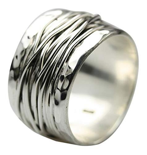 Breiter besonderer 925er Silberring, Größe:Größe 58 (18.5) mm