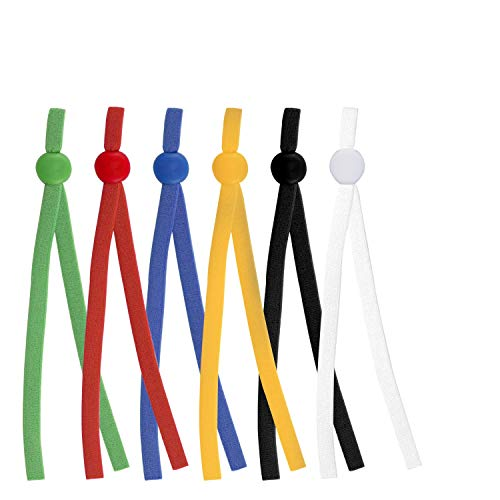 HOTYELL 120 Pcs Elastic String for Masks with Cord Locks, Premium Elastic Bands Cord Rope for Sewing, Toggles for Drawstrings (Red-Blue-Yellow-Green-Black-White, 120 Pack)