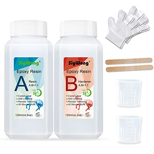 Epoxy Resin Clear Crystal Coating Kit 8.8oz - 2 Part Casting Resin for Art, Craft, Jewelry Making, River Tables, Bonus Gloves, Measuring Cup and Wooden Sticks