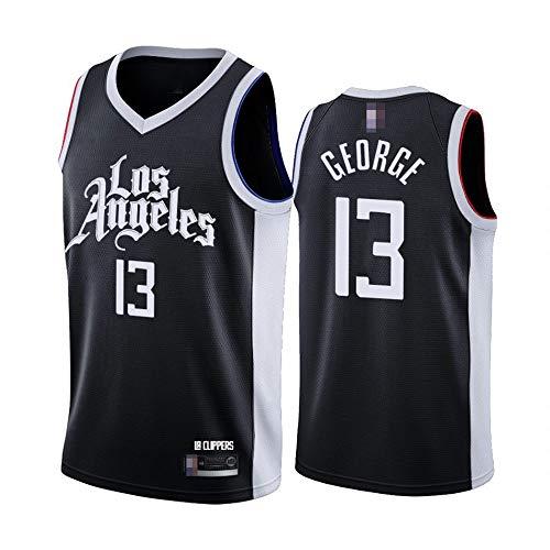 YDYL-LI Camisetas De Baloncesto para Hombre, NBA Los Angeles Clippers # 13 Paul George - Camiseta De Ropa Sin Mangas De Deporte Clásico, Tops De Uniformes De Tela Confort,Negro,S(165~170CM)