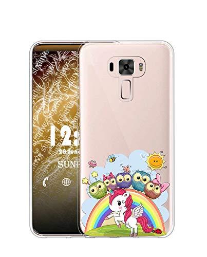 Sunrive Kompatibel mit Asus Zenfone 3 ZE520KL Hülle Silikon, Transparent Handyhülle Schutzhülle Etui Hülle (TPU Eule und Einhorn)+Gratis Universal Eingabestift MEHRWEG