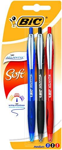 Bic Atlantis Soft Penna a Scatto a Sfera Punta Media 1,0 mm Grip in Gomma e Clip Metallica Blister da 3 Penne Colori Nero, Blu e Rosso