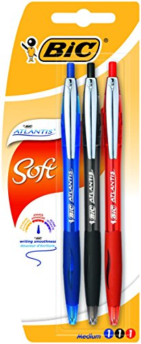 Bic Atlantis Soft Penna a Scatto a Sfera Punta Media 1,0 mm Grip in Gomma e Clip Metallica Blister da 3 Penne Colori Nero, Blu e Rosso