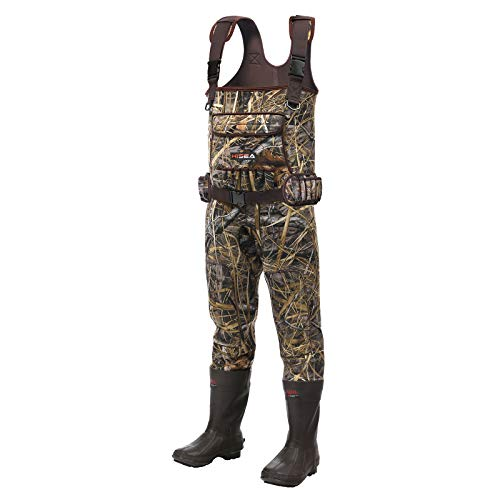 Hisea Chest Waders Neoprene Duck Hunting Waders for Men with Boots Camo Fishing Wader Bootfoot Cleated Waterproof Breathable Insulated Size 8