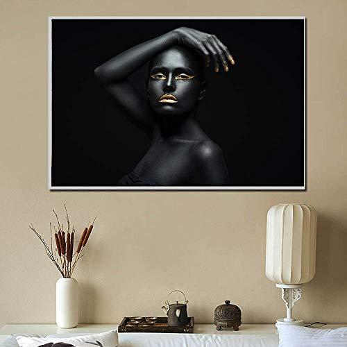 Lunderliny Pintura De Lienzo De Arte De Mujer Africana Negra Y Dorada Carteles De Retrato E Impresiones Escandinavo HD Sin Marco para La Decoración De La Sala De Estar 50x70cm