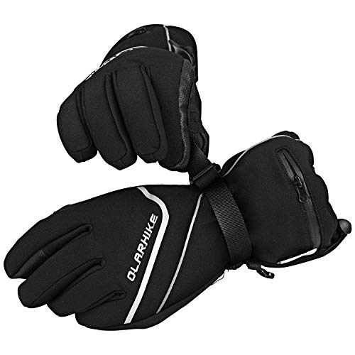 OlarHike Men's Ski Gloves, Winter Snow Gloves For Women, Touchscreen, Waterproof, Black, S-M