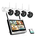 Jennov WiFi Home Security Camera System Wireless, 1080P 4CH Surveillance Video IP Camera NVR Kit with 12 LCD Inch Monitor Outdoor/Indoor Installed Hard Drive 1TB Waterproof Night Vision