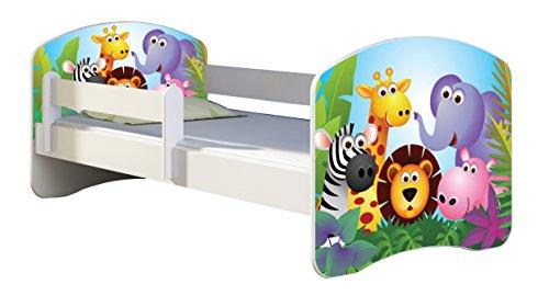 Letto per bambino Cameretta per bambino con materasso Cassetto ACMA II (01 Zoo, 140x70)