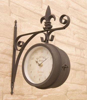 洋風 アメリカン 壁掛式 両面クロック (S) ブラウン 掛け時計 アンティーク風