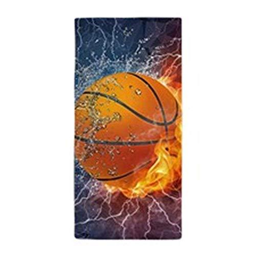 rongxincailiaoke Serviettes Plage Draps de Bain Flaming Basketball Ball SplashLarge Beach Towel Soft 31x51 Towel with Unique Design