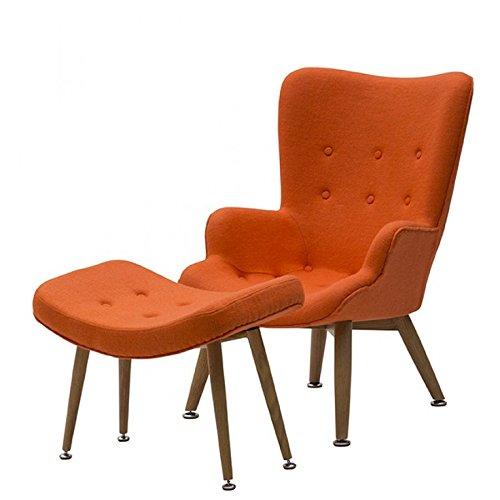 Fauteuil et tabouret en tissu, design moderne, rembourrés, pieds en hêtre orange