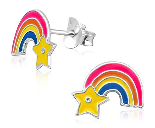 Laimons Mädchen Kids Kinder-Ohrstecker Ohrringe Kinderschmuck Regenbogen Lichtband blau gelb orange rosa aus Sterling Silber 925