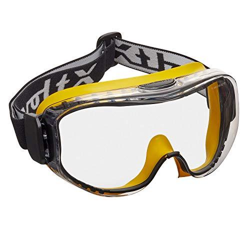 voltX DEFENDER ULTRA Occhiali protettivi a ventilazione indiretta, lente CLEAR e fascia regolabile con fibbia, lenti CE EN166BT, certificazione EN170, lenti antiappannamento e antigraffio.