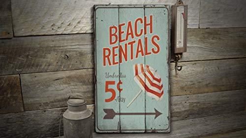 St234tyet Señal de alquiler de playa, cartel para silla de playa, regalo de decoración de playa, decoración de paraguas, decoración de madera, regalo rústico impreso vintage decoración de madera