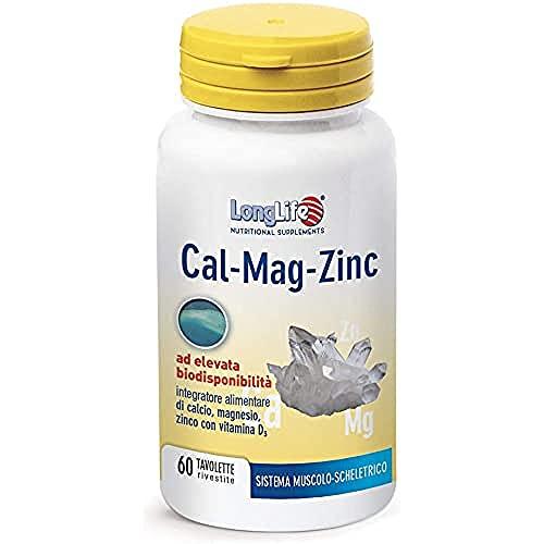 Cal-Mag-Zinc LongLife | Integratore di calcio, magnesio e zinco, con Vitamina D | Elevata Biodisponibilità | Ossa e Sistema Nervoso | Doping Free