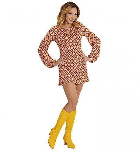 shoperama 70er Jahre Retro-Kleid mit Rhombus-Muster Orange Disco Damen-Kostüm Siebziger, Größe:S