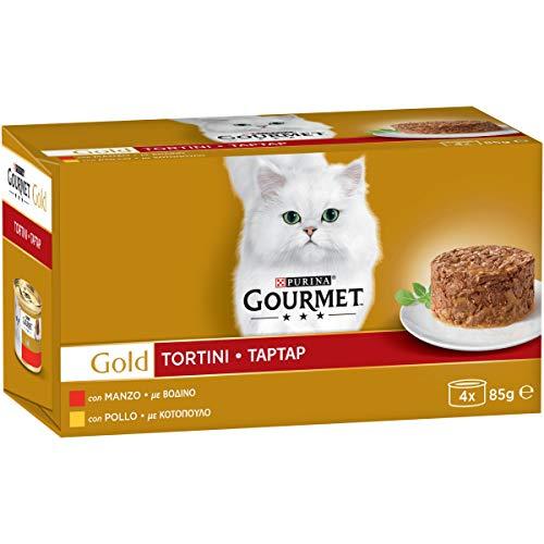 Purina Gourmet Gold Umido Gatto Tortini Carne, con Pollo, Manzo - 4 Lattine da 85 g Ciascuna (Confezione da 4 x 85 g)