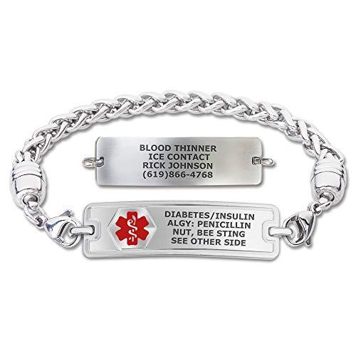 "Divoti Custom Engraved Medical Alert Bracelets for Women, Stainless Steel Medical Bracelet, Medical ID Bracelet w/Free Engraving – Classic Tag w/Wheat Chain -Red-7.5"""