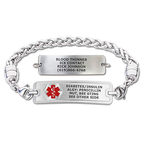 Divoti Custom Engraved Medical Alert Bracelets for Women, Stainless Steel Medical Bracelet, Medical ID Bracelet w/Free Engraving – Classic Tag w/Wheat Chain-Red-7.0'