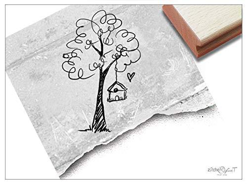 Stempel - Motivstempel Baum mit Vogelhäuschen - Kinderstempel Bildstempel Geschenk für Kinder, Karten Servietten Basteln Deko - zAcheR-fineT