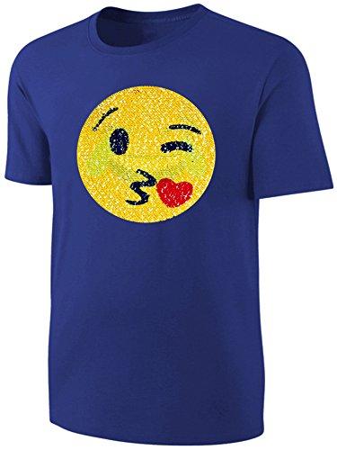 Kinder T-Shirt Wende Pailletten Emoji Kussmund Streichel Shirt Blau Größe 152
