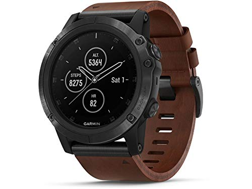 Garmin Unisex Fenix 5X Plus Brown Leather Band Sapphire Quartz Dial Multisport GPS Smart Watch