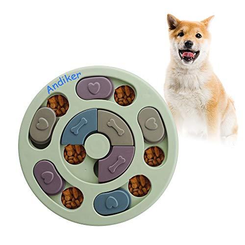 Andiker Rundes Hundespielzeug, Puzzle-Spielzeug, langlebig, interaktives Hundespielzeug, Hunde-Gehirnspiele, Verbesserung des IQ(Grün)